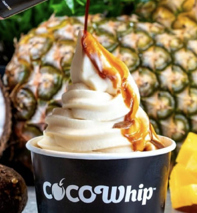 An image of Cocowhip with caramel sauce