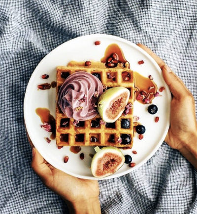 An image of waffles with Acaiwhip and figs ontop