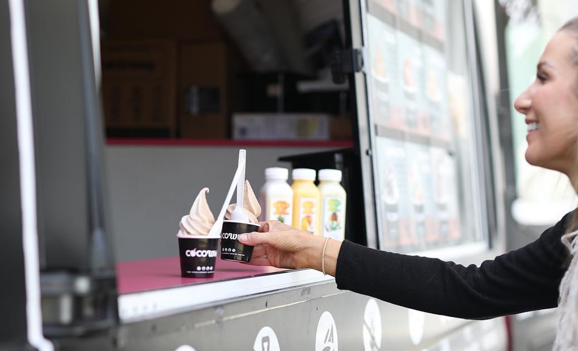 A woman collecting her cocowhip